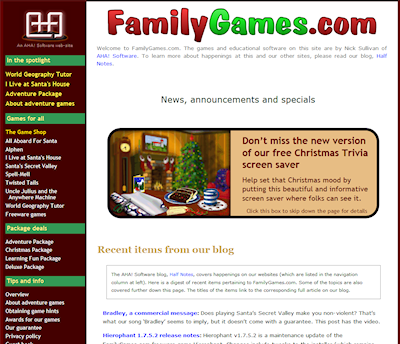 Family Games front page in 2012